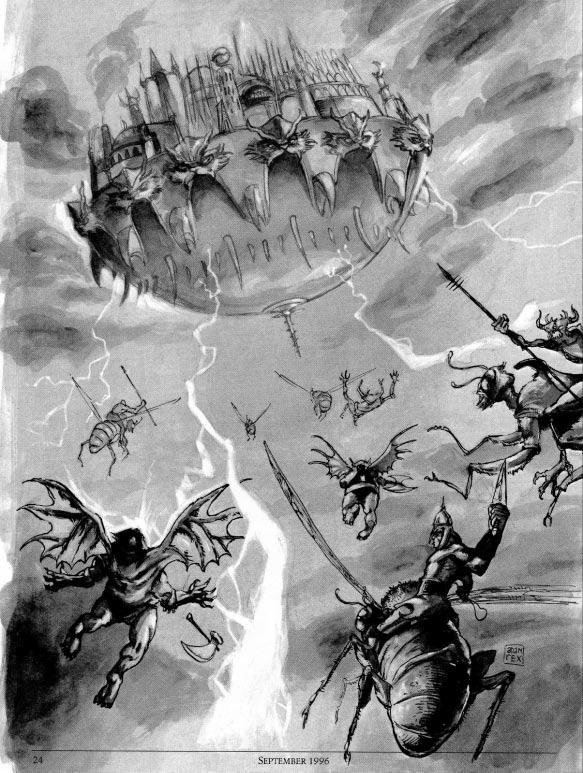 abyssal fortress Una fortezza abissale Tanar'ri - by Adam Rex TSR - Dragon Magazine #233 (1996-09) © Wizards of the Coast & Hasbro