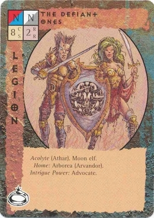 "moon elf ""the Defiant Ones"", elfi della luna athar di Arvandor, su Arborea - by Paul Jaquays TSR - ""Blood Wars"" card game Pack 2, Factols & Factions (1995) © Wizards of the Coast & Hasbro"