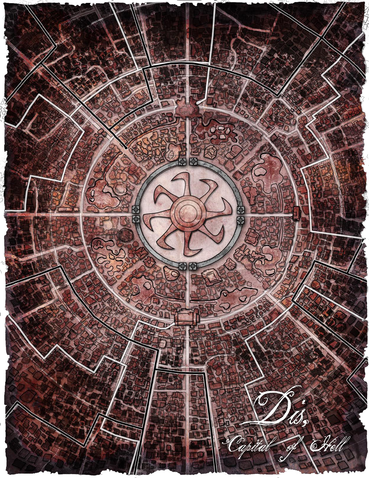 city map dis Uno schema della parte centrale della città di Dis Pathfinder Chronicles Book of the Damned Vol. 1 - Princes of Darkness (2009-10) © PAIZO Publishing