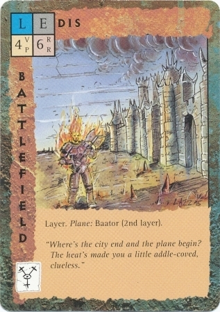 "baator ""Dis"", la città di Dispater - by Rob Lazzaretti TSR - ""Blood Wars"" card game Base Escalation Pack 3, Powers & Proxies (1995) © Wizards of the Coast & Hasbro"