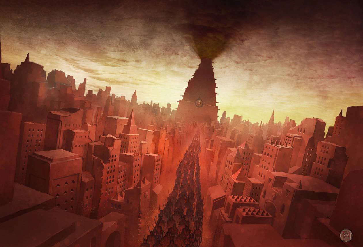 baator city of dis Una delle parate militari nella città di Dis Pathfinder Chronicles Book of the Damned Vol. 1 - Princes of Darkness (2009-10) © PAIZO Publishing