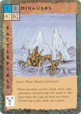 "baator layer hamatula barbed devil ""Minauros"" lo strato infernale - by David C. Sutherland III TSR - ""Blood Wars"" card game Base Pack (1995) © Wizards of the Coast & Hasbro"