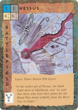 "devils ""Nessus"", strato di Baator - by Rob Lazzaretti TSR - ""Blood Wars"" card game Base Escalation Pack 3, Powers & Proxies (1995) © Wizards of the Coast & Hasbro"