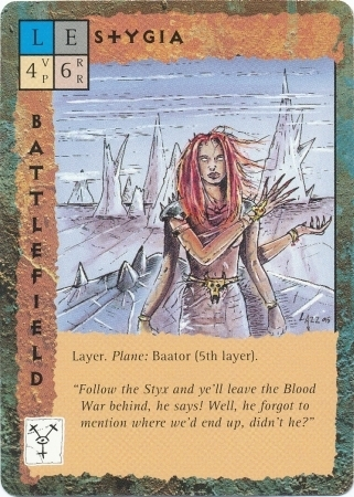 "baator layer ""Stygia"", strato infernale - by Rob Lazzaretti TSR - ""Blood Wars"" card game Base Escalation Pack 3, Powers & Proxies (1995) © Wizards of the Coast & Hasbro"