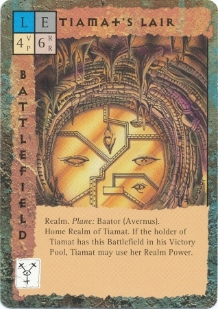"avernus ""Tiamat's Lair"", l'antro della dea-drago - by Newt Ewell TSR - ""Blood Wars"" card game Base Escalation Pack 3, Powers & Proxies (1995) © Wizards of the Coast & Hasbro"