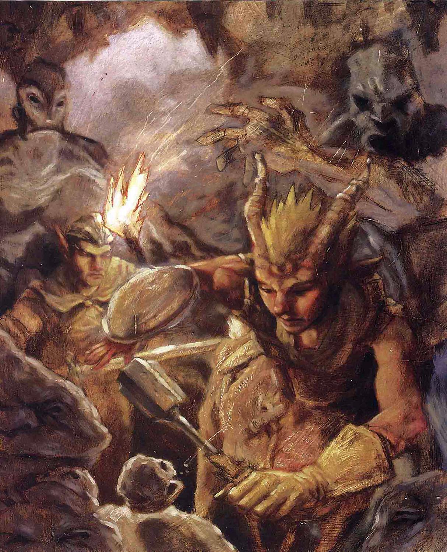 bariaur inner elemental planes Elementali della terra e Bariaur - by Adam Rex TSR - Monstrous Compendium Appendix III (1998) © Wizards of the Coast & Hasbro