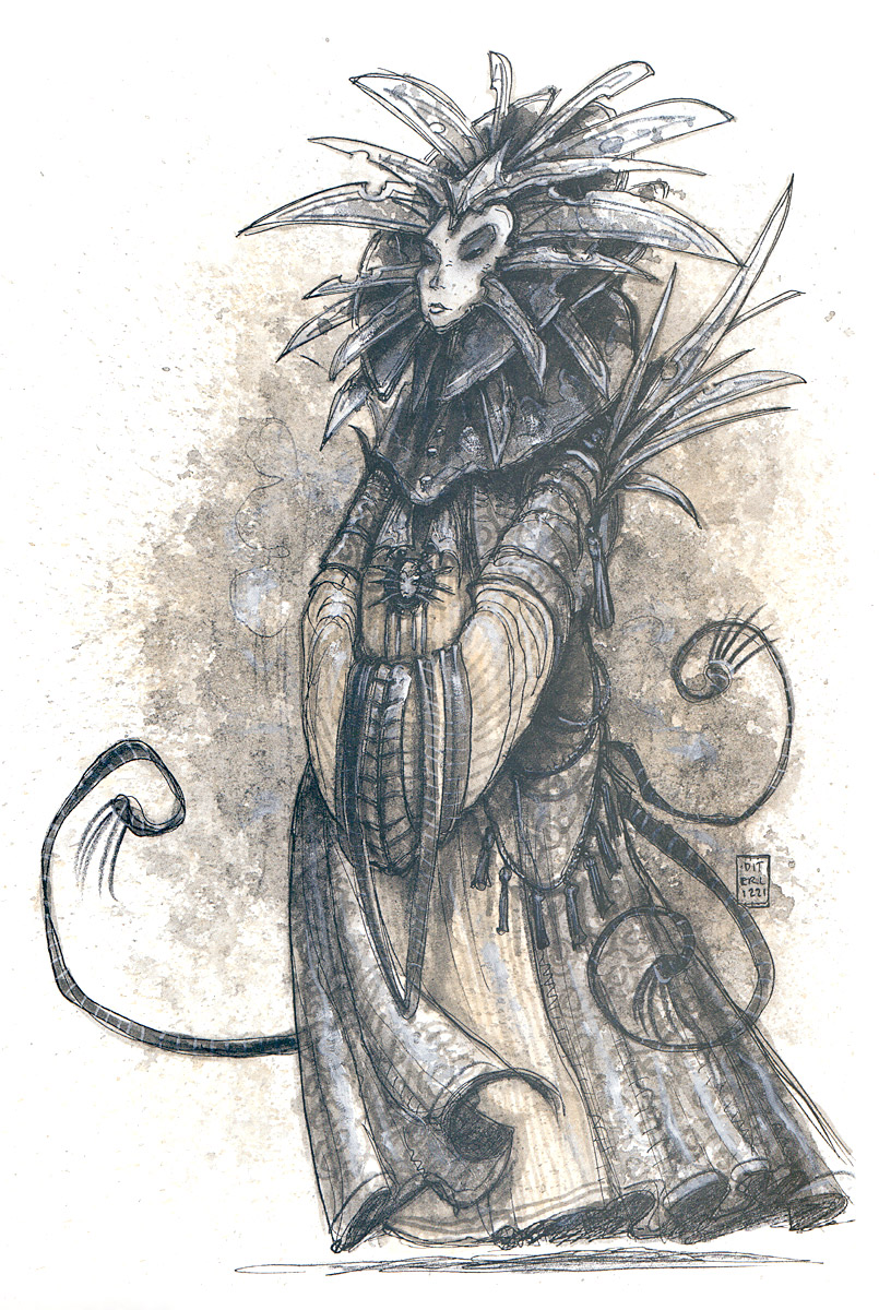 lady of pain art Sua Serenità la Signora del Dolore - by Tony Diterlizzi TSR – Planescape Boxed Set - A DM Guide to the Planes (1994-04) © Wizards of the Coast & Hasbro