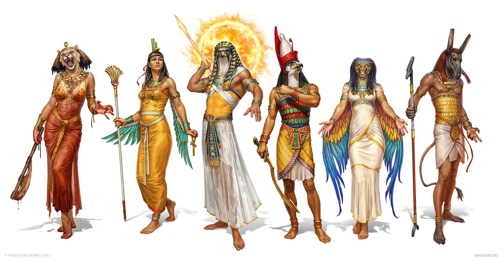 egiptian deities Le divinità Egizie (Sekhmet, Isis, Ra, Horus, Wedjet e Set) - by Ekaterina Burmak Pathfinder Adventure Path #80 - Mummy's Mask pt.2, Empty Graves (2014) © PAIZO Publishing