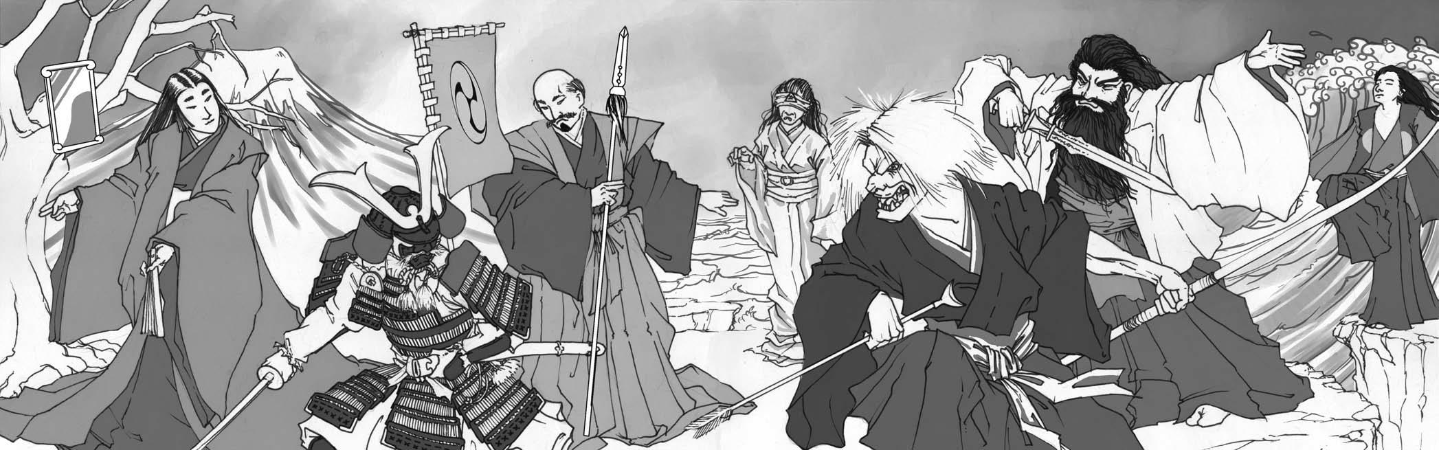 """japanese pantheon """"Amatsukami"""" da sinistra: Amaterasu, Hachiman, Izanagi, Izanami, Raiden, Susano-o, Tsuki-Yomi Scion - Hero (2007-04) © White Wolf Publishing"""