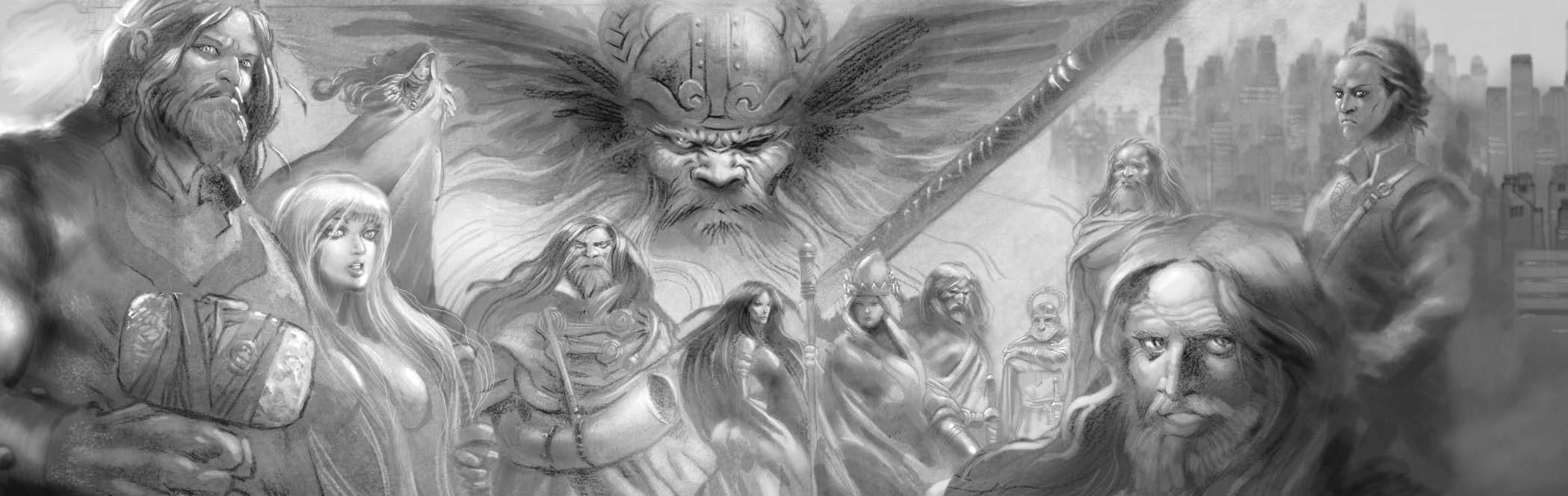"norse pantheon ""Aesir"" (e Vanir) da sinistra: Thor, Sif, Hel, Heimdall, Freya, Frigga, Frey, Vidar, Tyr, Baldur, Loki, Odino (dietro) Scion - Hero (2007-04) © White Wolf Publishing"