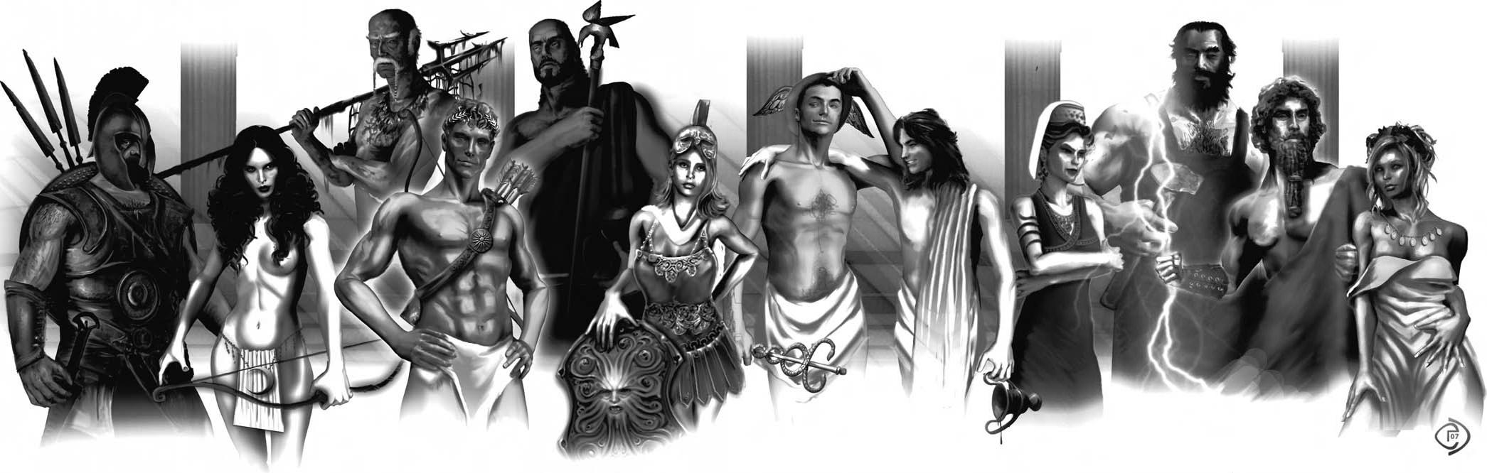 """olympians """"Dodekateon"""" da sinistra: Ares, Artemide, Poseidone, Apollo, Ade, Atena, Ermes, Dioniso, Era, Efesto, Zeus, Afrodite Scion - Hero (2007-04) © White Wolf Publishing"""