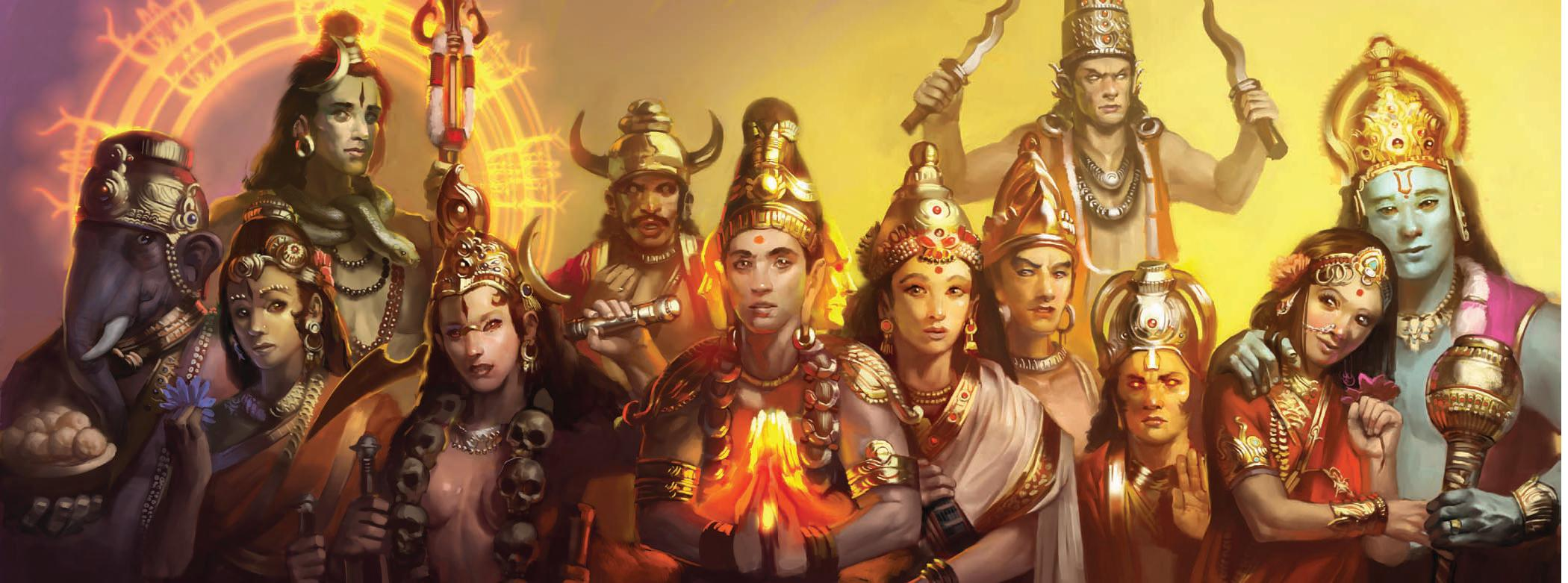 deva Divinità Vediche - da sinistra: Ganesha, Parvati, Shiva (dietro), Kali, Yama (dietro), Brahma, Sarasvati, Agni (in mezzo), Indra (dietro), Surya, Lakshmi e Vishnu Scion - Companion (2009-04) © White Wolf Publishing