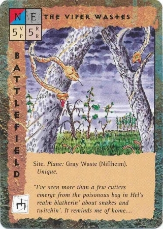 "gray wastes ""The Viper Wastes"" le distese di Alberi-vipera di Nilfheim - by David C. Sutherland III TSR - ""Blood Wars"" card game Base Pack (1995) © Wizards of the Coast & Hasbro"