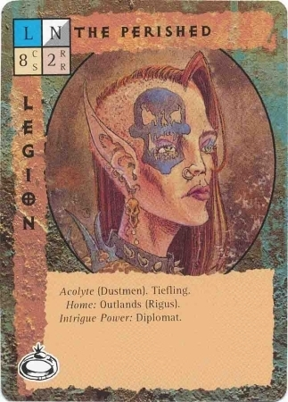 """dustmen """"The Perished"""", tiefling dei cinerei, a Rigus nelle Terre Esterne - by Paul Jaquays TSR - """"Blood Wars"""" card game Pack 2, Factols & Factions (1995) © Wizards of the Coast & Hasbro"""