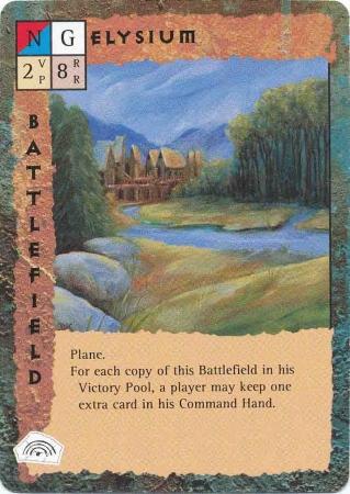 "elysium plane ""Elysium"" - by Dana Knutson TSR - ""Blood Wars"" card game Base Pack (1995) © Wizards of the Coast & Hasbro"