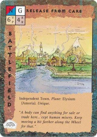 "elysium ""Release From Care"", la città su Amoria - by Rob Lazzaretti TSR - ""Blood Wars"" card game Base Pack (1995) © Wizards of the Coast & Hasbro"