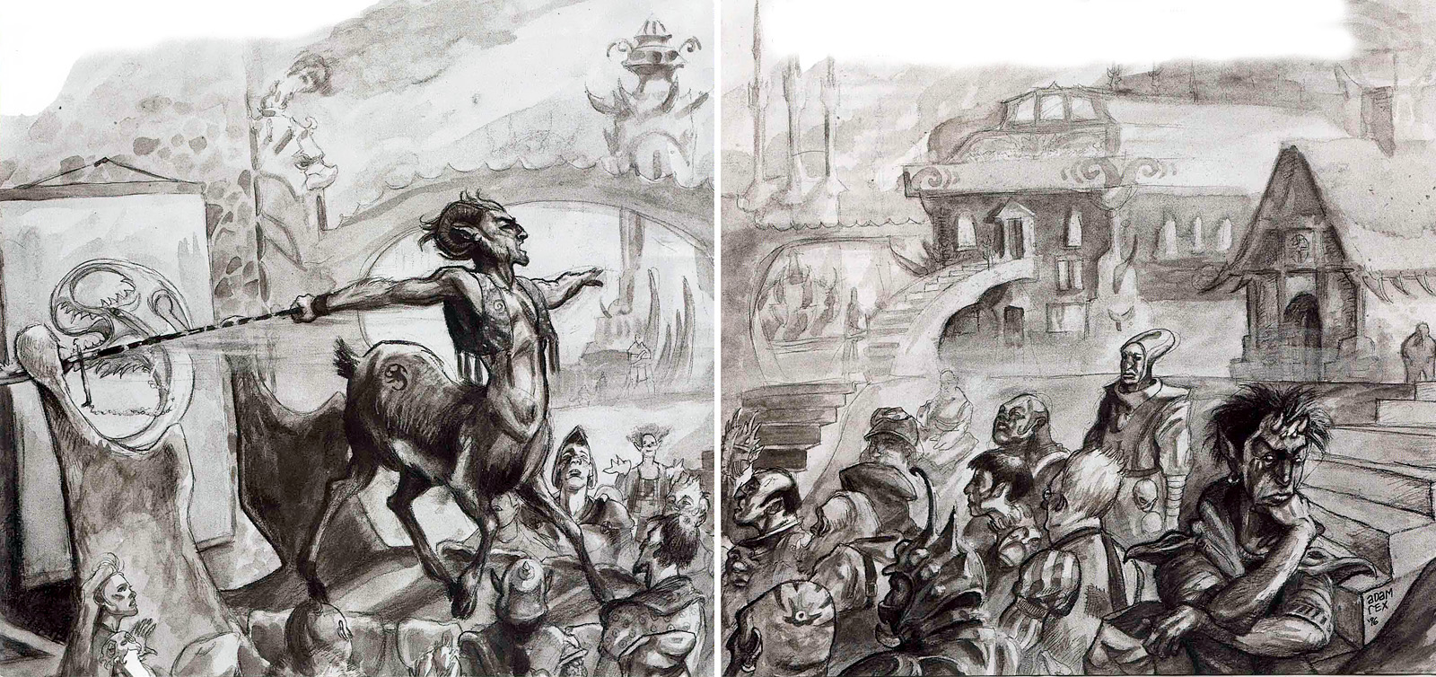 bariaur free league tiefling indept Bariaur della Lega Libera intento a reclutare - by Adam Rex TSR - Hellbound, The Blood War (1996-06) © Wizards of the Coast & Hasbro
