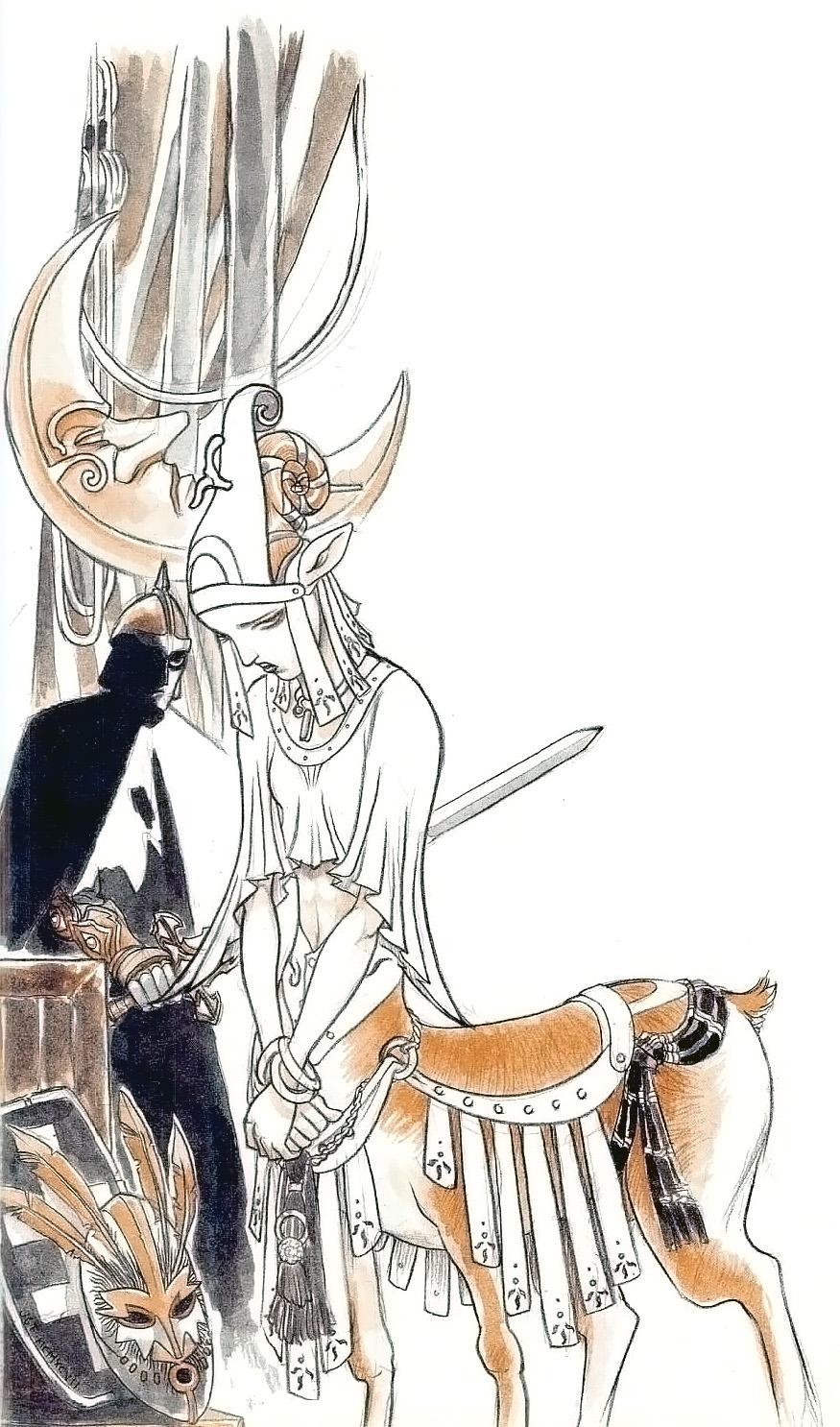 bariaur Giovane sacerdotessa Bariaur - by Josh Timbrook TSR - Dead Gods (1997-10) © Wizards of the Coast & Hasbro