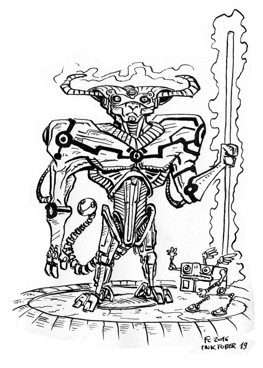 """clone-artist vulpinal """"Tertian"""" modron (doodle #19 per Inktober) - by clone-artist (Filip C.) clone-artist.deviantart.com (2016-10) © dell'autore tutti i diritti riservati"""