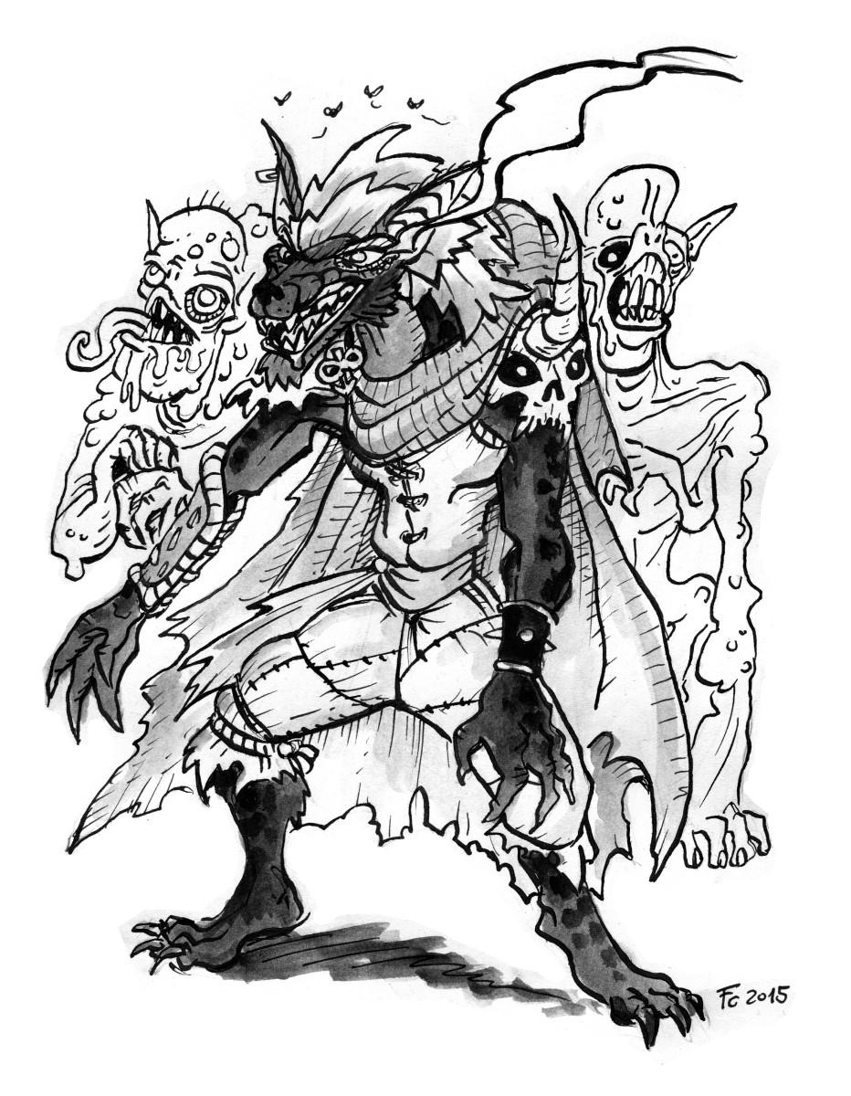 "clone-artist noviere eladrin ""Grigo, the Fallen Proxy of Yeenoghu"", Con ghast e ghoul - by clone-artist (Filip C.) clone-artist.deviantart.com (2015-02) © dell'autore tutti i diritti riservati"