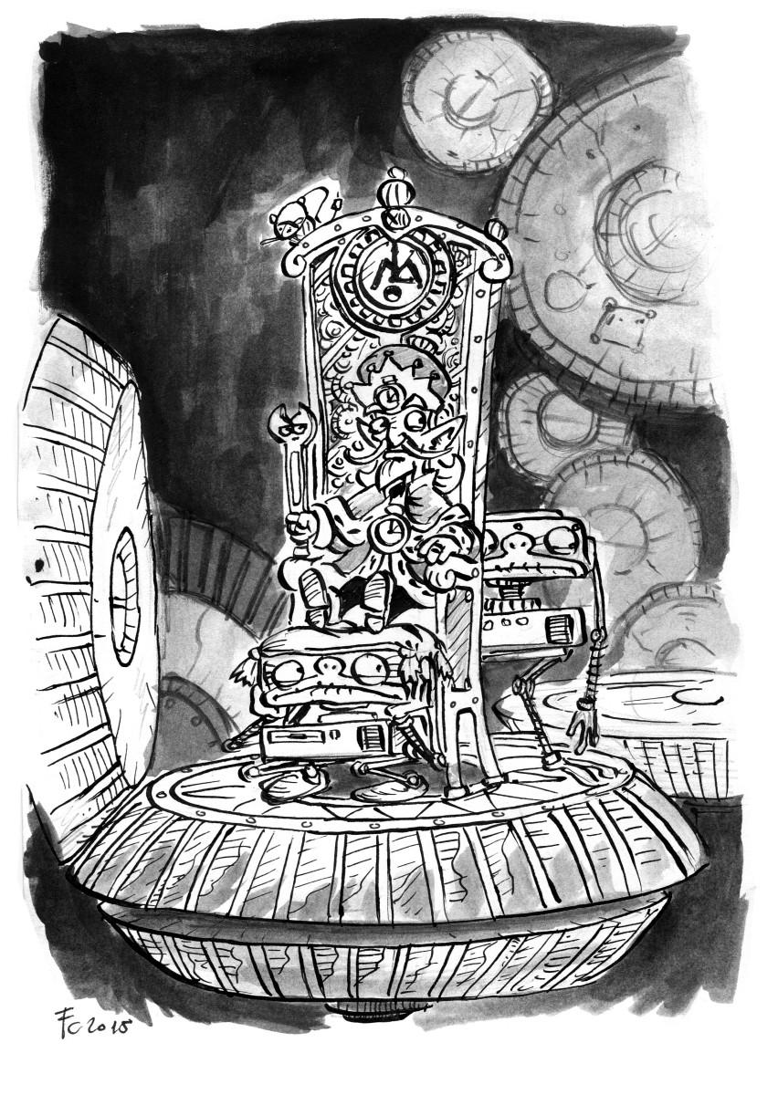 """clone-artist """"The Little Petitioner I: The King of Mechanus"""", rivisitazione in versione """"Mechanus"""" dei viaggi del //Piccolo Principe// - by clone-artist (Filip C.) clone-artist.deviantart.com (2015-03) © dell'autore tutti i diritti riservati"""