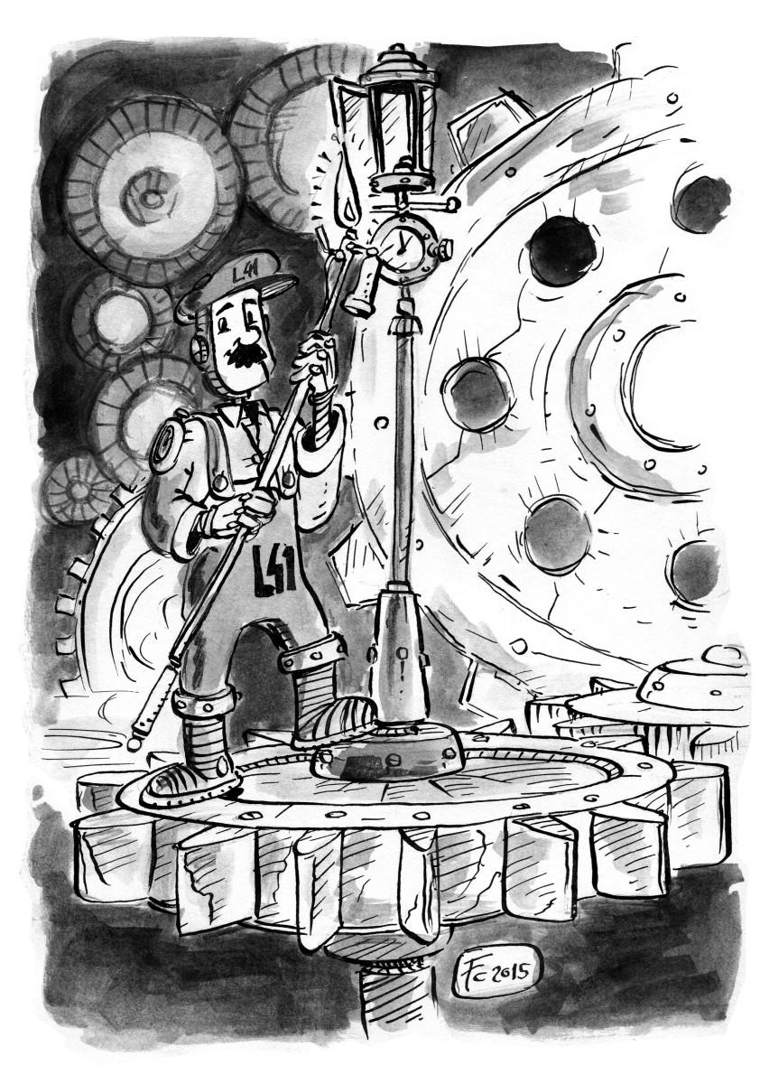 """clone-artist """"The Little Petitioner II: The Lamplighter"""", rivisitazione in versione """"Mechanus"""" dei viaggi del //Piccolo Principe// - by clone-artist (Filip C.) clone-artist.deviantart.com (2015-03) © dell'autore tutti i diritti riservati"""