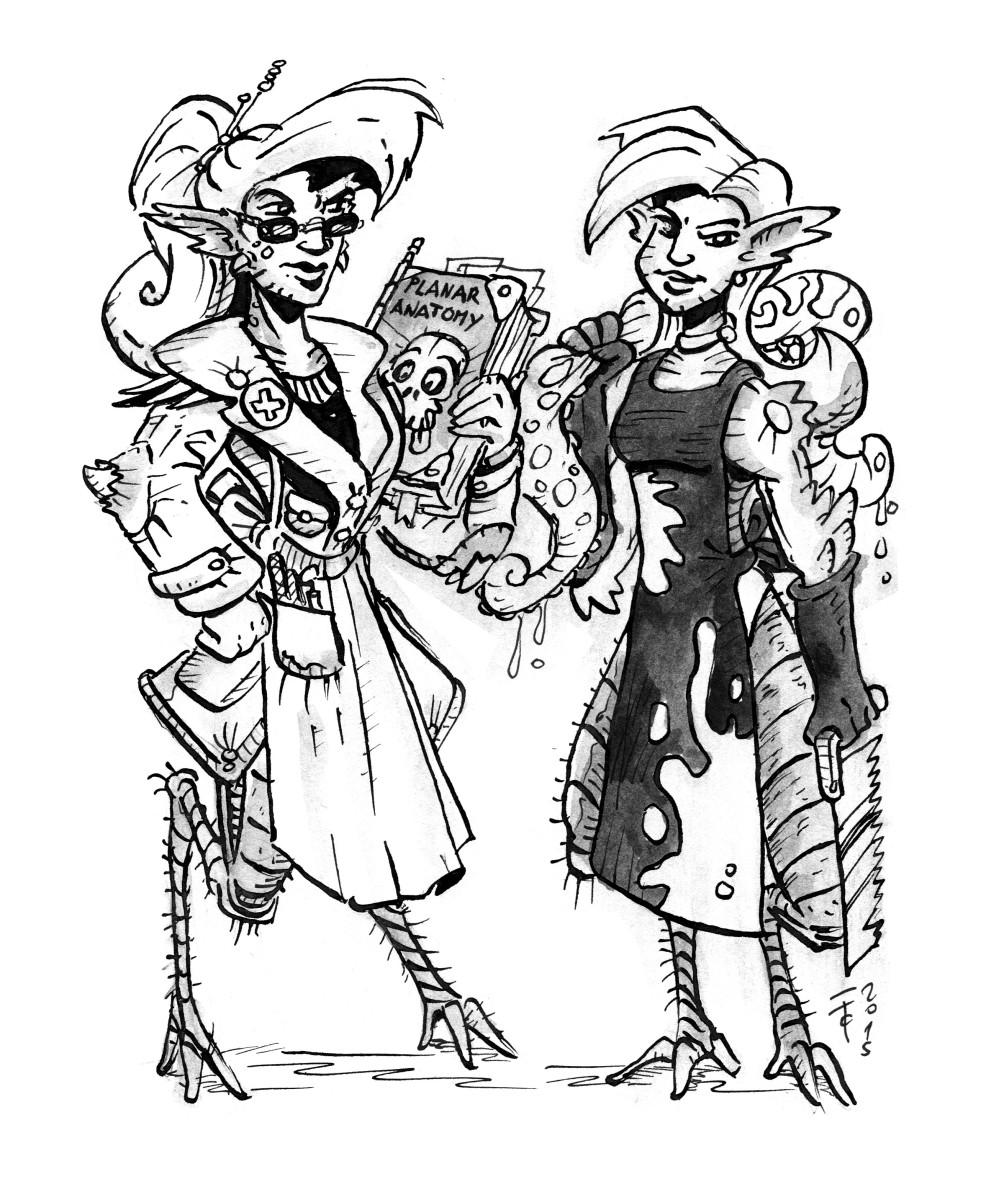 """clone-artist """"The Stitch-em-up Sisters - Zal and Laz"""", le sorelle tiefling, infermiere all'arena di Sigil - by clone-artist (Filip C.) clone-artist.deviantart.com (2015-02) © dell'autore tutti i diritti riservati"""