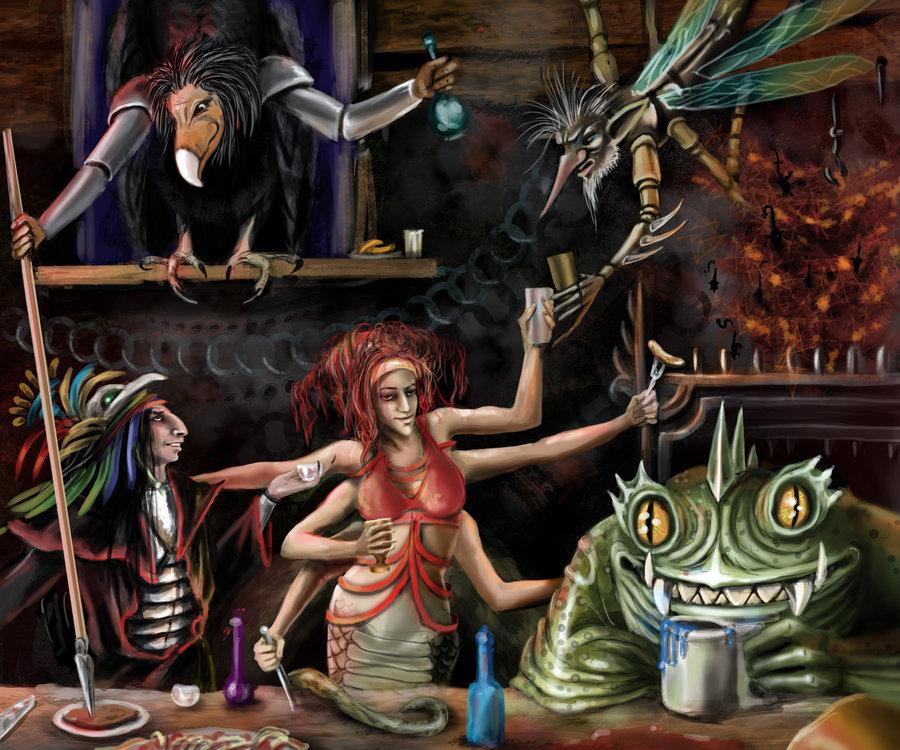 """marilith hezrou delhar """"Drinking in the Abyss"""", Chan Tok'Il non ancora lich festeggia una vittoria - by delhar (Yashka) delhar.deviantart.com (2012) © dell'autore tutti i diritti riservati"""