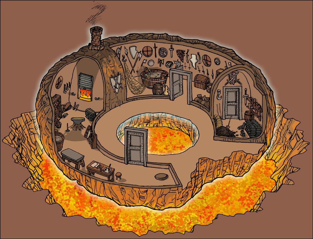 """domigorgon """"Citadel of the Planes - Fire"""", la Cittadella dei Piani, direttamente dalle mappe del manuale """"Stronghold Builder's Guidebook"""" - by Domigorgon (Domagoj Rapčak) domigorgon.deviantart.com (2017-02) © dell'autore tutti i diritti riservati"""