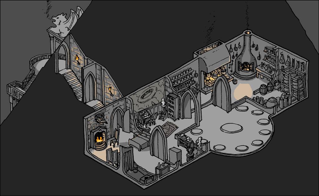 """domigorgon """"Citadel of the Planes - Shadow Rooms"""", la Cittadella dei Piani, direttamente dalle mappe del manuale """"Stronghold Builder's Guidebook"""" - by Domigorgon (Domagoj Rapčak) domigorgon.deviantart.com (2017-01) © dell'autore tutti i diritti riservati"""