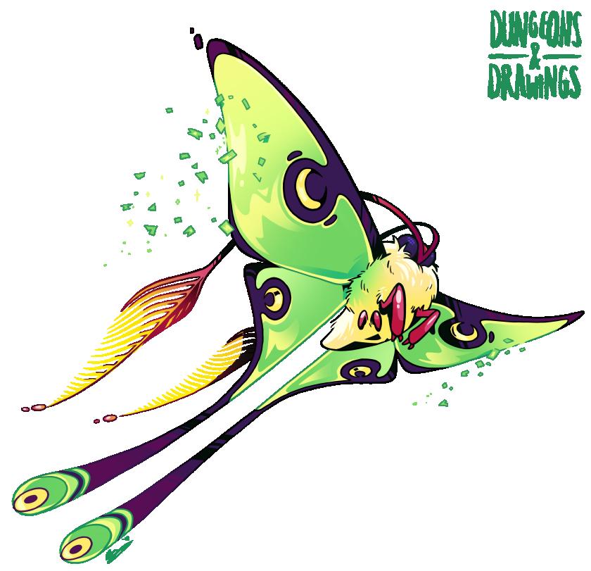 "dungeonsanddrawings ""Luna Moth"" - by Blanca Martinez de Rituerto dungeonsanddrawings.blogspot.com (2017-02) © dell'autore tutti i diritti riservati"