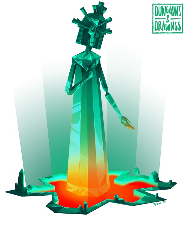 "dungeonsanddrawings ""Emerald Gemstone Golem"" - by Blanca Martinez de Rituerto dungeonsanddrawings.blogspot.com (2014-02) © dell'autore tutti i diritti riservati"