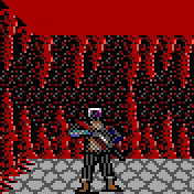 dark elf pixel art Drow nel vecchio videogioco ambientato nelle Forgotten Videogame: AD&D, Curse of the Azure Bonds (1989-12) © SSI, Wizards of the Coast & Hasbro