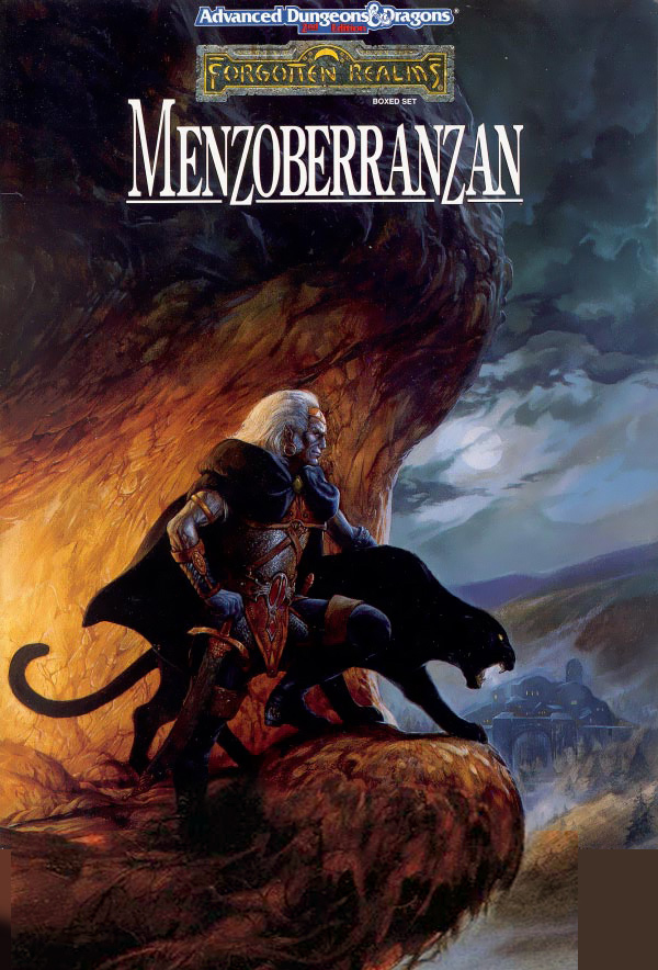d&d dark elf drow L'elfo scuro Drizzt con la fida Guenhwyvar, in copertina - by Jeff Easley TSR - Forgotten Realms Boxed Set, Menzoberranzan (1992-09) © Wizards of the Coast & Hasbro