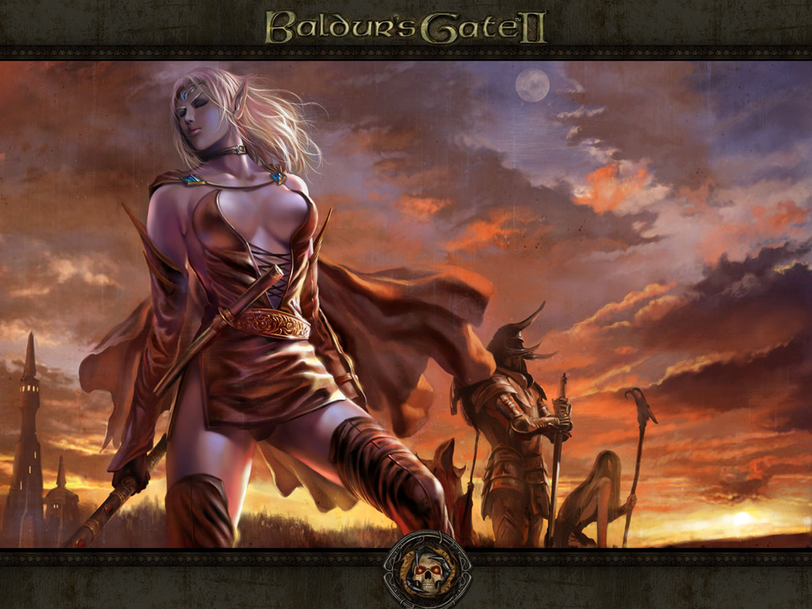 d&d dark elf drow Viconia, wallpaper del gioco Videogame: Baldur's Gate II, Shadows of Amn (2000-09) © Interplay, Black Isle Studios, Wizards of the Coast & Hasbro