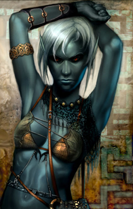 d&d dark elf Portrait di Drow femmina Videogame: Neverwinter Nights, Hordes of the Underdark (2003-12) © Atari, Wizards of the Coast & Hasbro