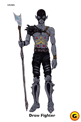 d&d dark elf Drow, guerriero png maschile - concept art Videogame: Pool of Radiance, Ruins of Myth Drannor (2001-12) © Ubisoft, Wizards of the Coast & Hasbro