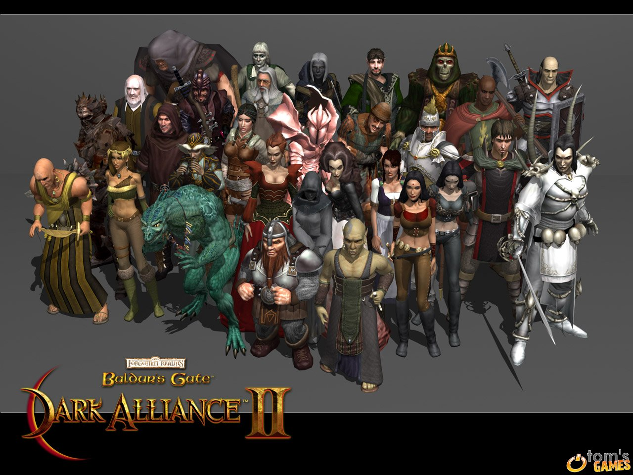 drow lich lizardman red dragon Quadretto d'insieme per il wallpaper di DA2: drow, lich, lucertoloide, vampiro, drago rosso (quella col vestito sgargiante)... Videogame: Baldur's Gate, Dark Alliance II (2004-01) © Vivendi, Wizards of the Coast & Hasbro