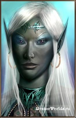 d&d dark elf seer Portrait di profetessa Drow Videogame: Neverwinter Nights, Hordes of the Underdark (2003-12) © Atari, Wizards of the Coast & Hasbro