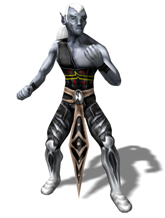 d&d dark elf Drow stregone, rendering preliminare Videogame: Pool of Radiance, Ruins of Myth Drannor (2001-12) © Ubisoft, Wizards of the Coast & Hasbro