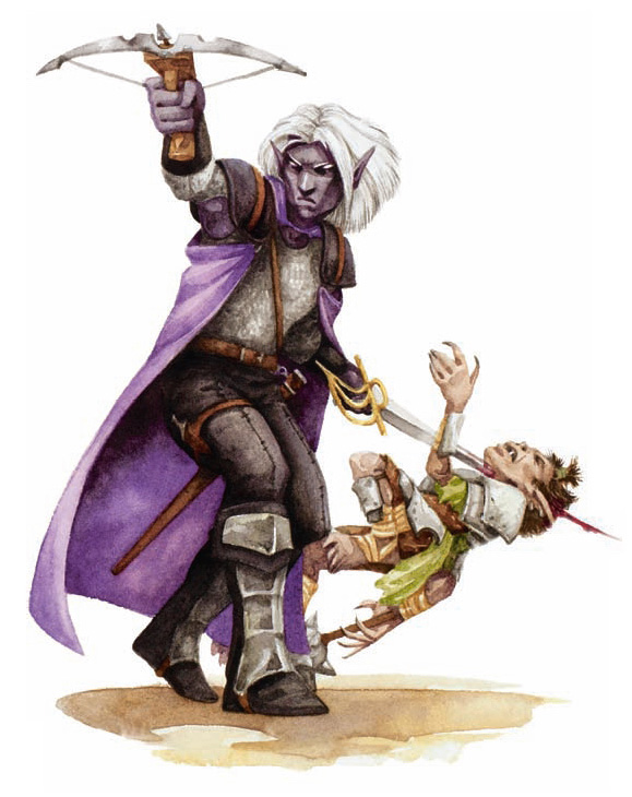 dark elf shadows Drow e uno sfortunato goblin - by Beth Trott Martial Power (2008-11) © Wizards of the Coast & Hasbro
