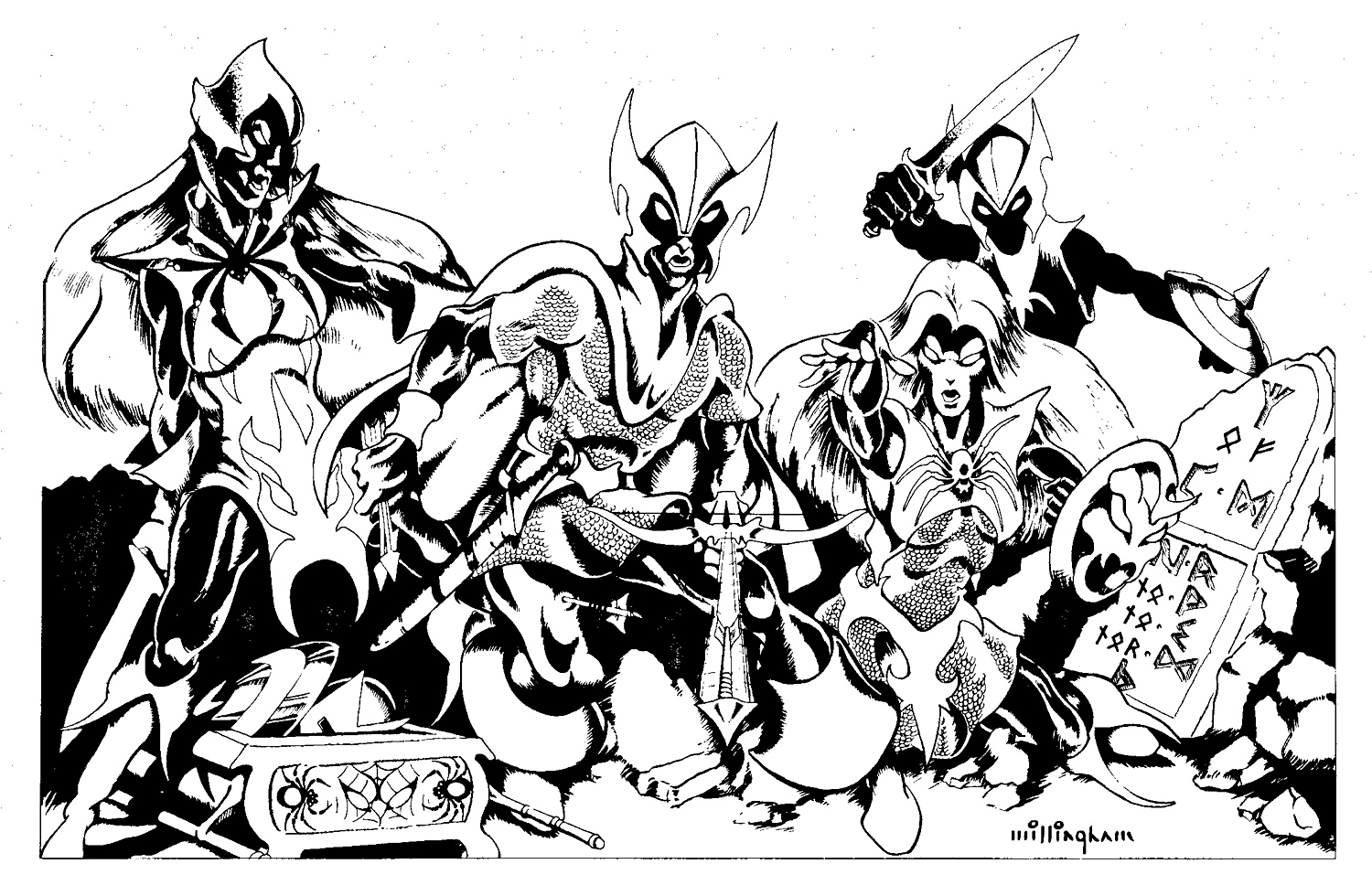 dark elf drow Gruppo di agguerriti elfi scuri - by Bill Willingham TSR - Adventure collection, Descent into the Depths of the Earth (1981-12) © Wizards of the Coast & Hasbro