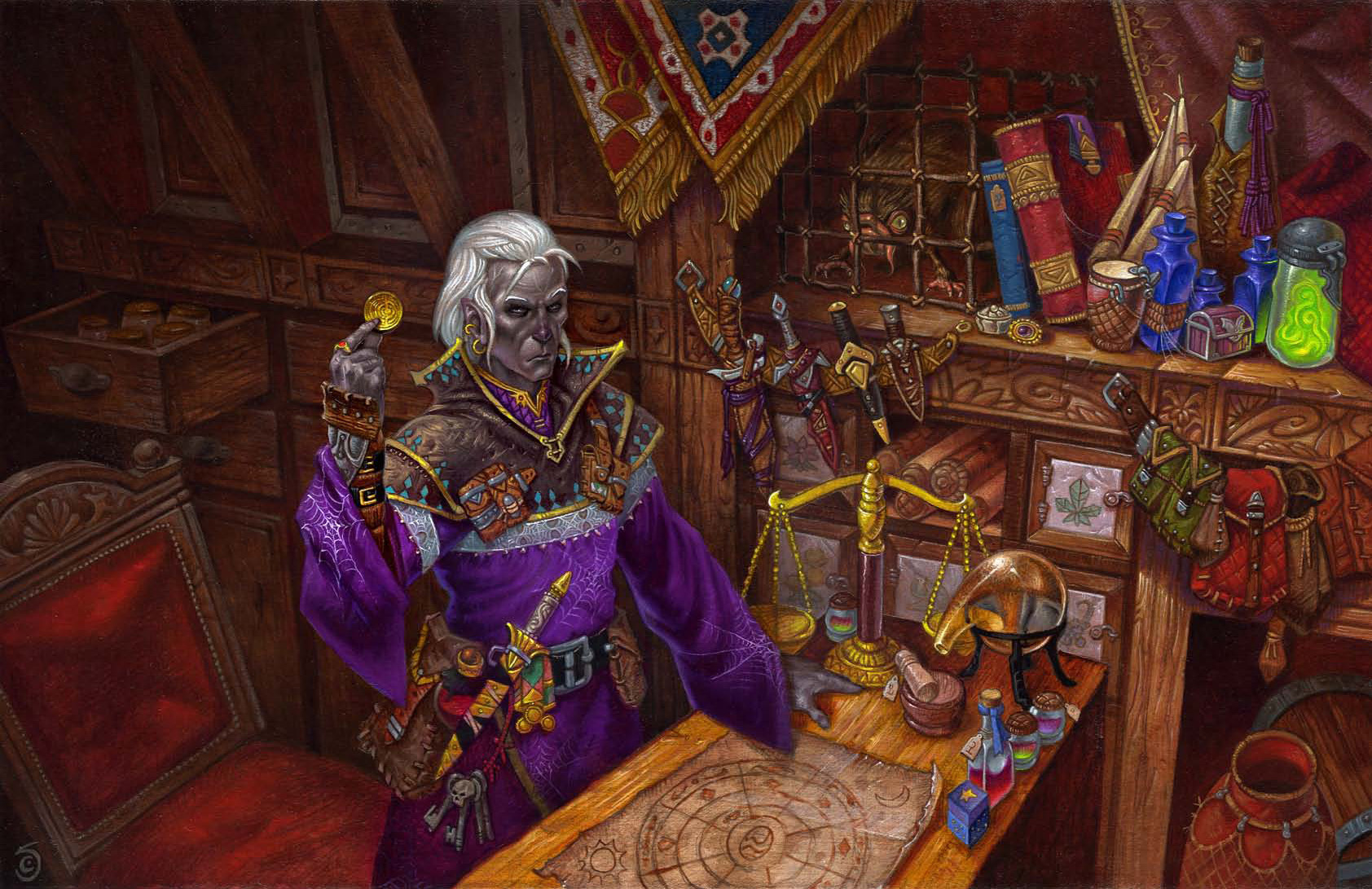 d&d dark elf Mago Drow - by Chris Seaman Dungeon Magazine #156 (2008-07) © Wizards of the Coast & Hasbro