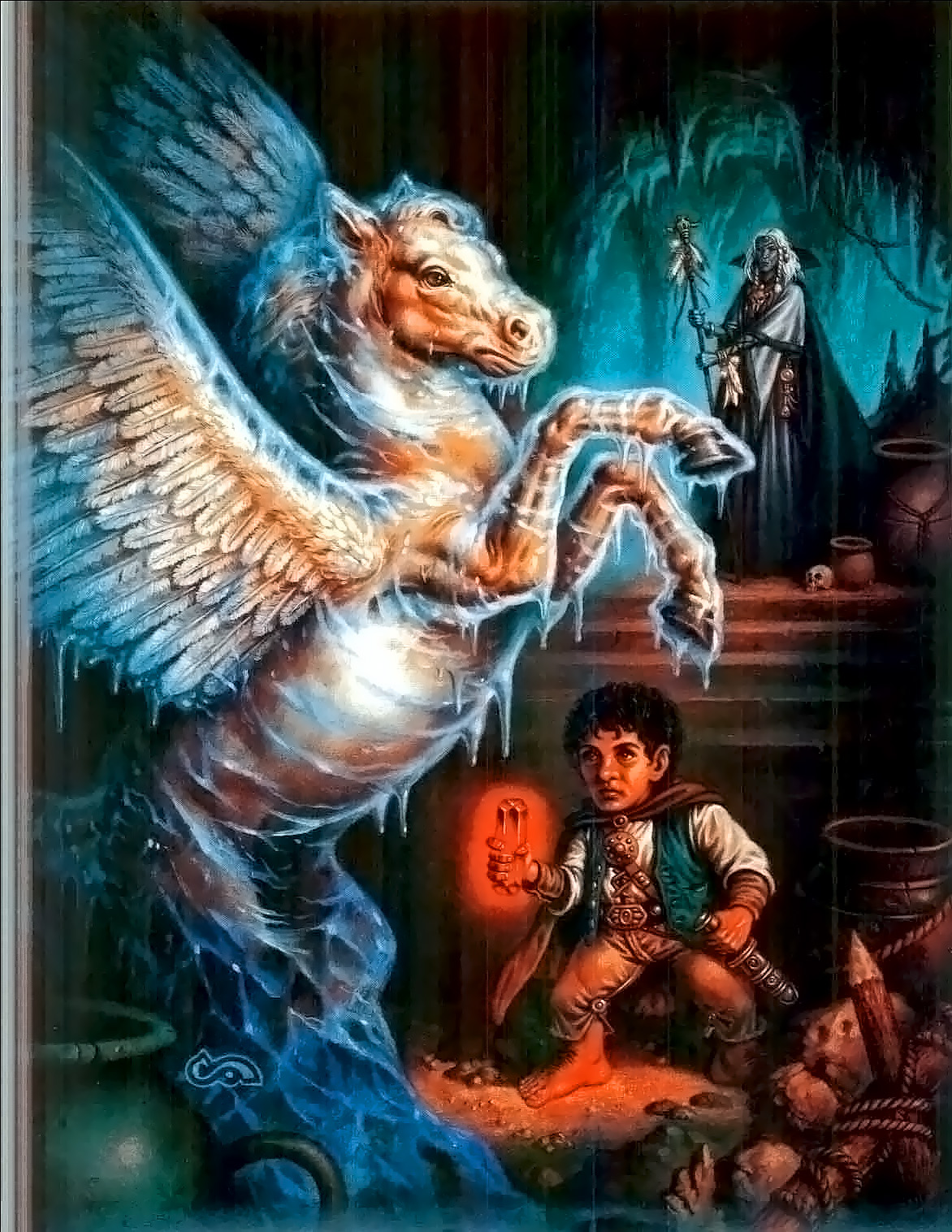 dark elf pegasus Drow, halfling e... - by Clyde Caldwell TSR - The Complete Thief's Handbook (1989-12) © Wizards of the Coast & Hasbro