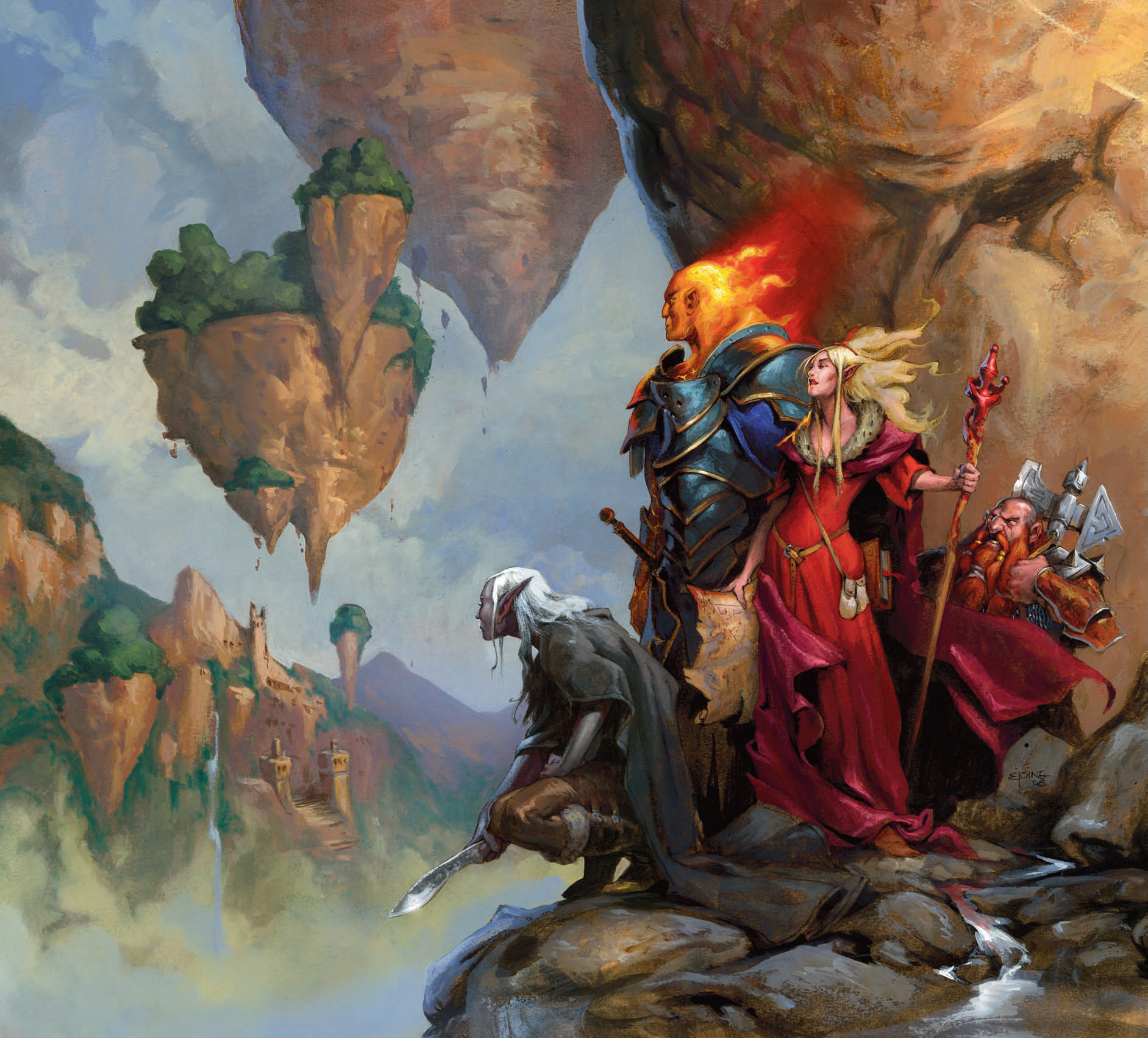 dark elf dwarf fire genasi Drow, elfa, nano e genasi del fuoco - by Jesper Ejsing Forgotten Realms Player's Guide (2008-09) © Wizards of the Coast & Hasbro
