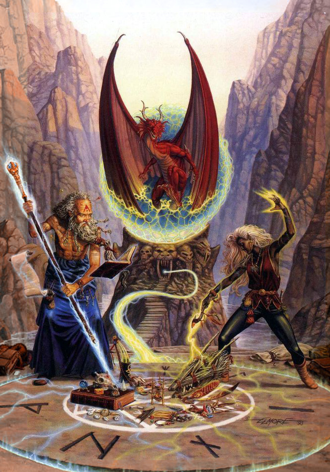 dark elf red dragon Drow in copertina - by Larry Elmore Dragon Magazine #200 (1993-12) © Wizards of the Coast & Hasbro