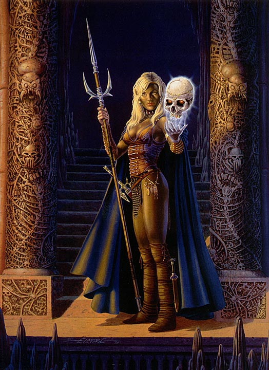 dark elf necromancer Drow necromante - by Larry Elmore Dragon Magazine #267 (2000-01) © Wizards of the Coast & Hasbro