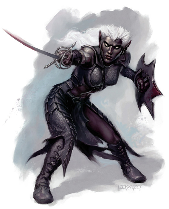 dark elf Drow in terza e quarta edizione - by Todd Lockwood Monster Manual 3.5 / Monster Manual 4a ed. (2003 / 2008-06) © Wizards of the Coast & Hasbro