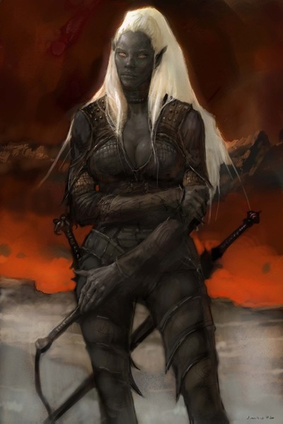 d&d dark elf Portrait grande Drow, per Icewind Dale 2 Videogame: Icewind Dale II (2002-12) © Interplay, Black Isle Studios, Wizards of the Coast & Hasbro