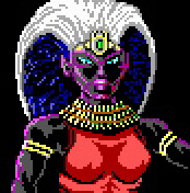 dark elf pixel art Portrait di matrona drow Videogame: AD&D, Curse of the Azure Bonds (1989-12) © SSI, Wizards of the Coast & Hasbro